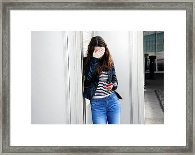 Teenage Cyberbullying Framed Print by Aj Photo