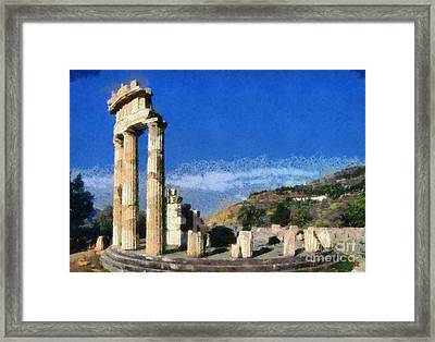 Temple Of Athena In Delphi Framed Print by George Atsametakis