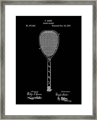 Tennis Racket Patent 1887 - Black Framed Print by Stephen Younts