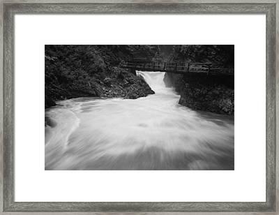The Soteska Vintgar Gorge In Black And White Framed Print