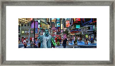 Times Square On A Tuesday Framed Print by Lee Dos Santos