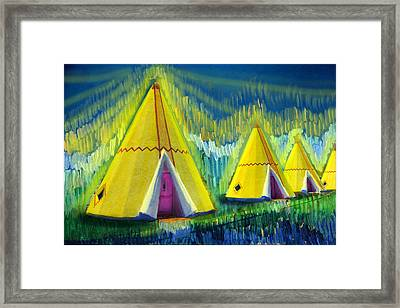 4 Tipis Framed Print by Cindy McIntyre