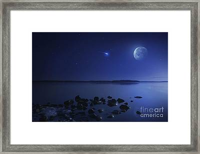 Tranquil Lake Against Starry Sky, Moon Framed Print by Evgeny Kuklev