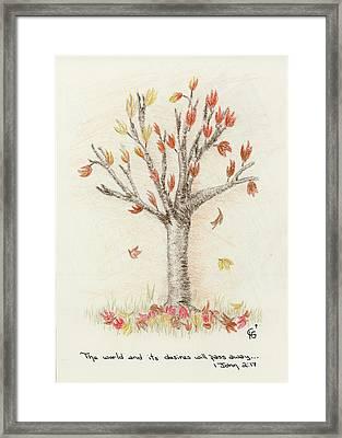 4 Trees-1st Tree Fall Framed Print