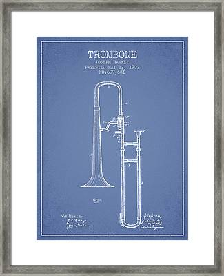 Trombone Patent From 1902 - Light Blue Framed Print
