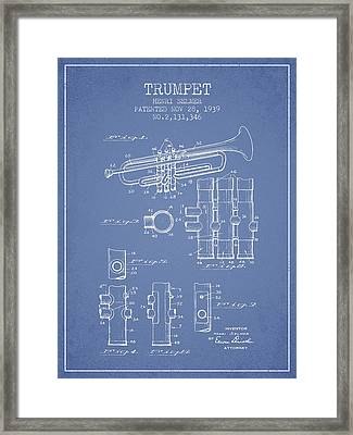 Trumpet Patent From 1939 - Light Blue Framed Print by Aged Pixel