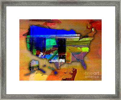 United States Map Watercolor Framed Print by Marvin Blaine