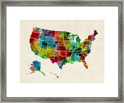United States Watercolor Map Framed Print