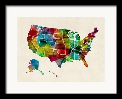 Us State Map Framed Prints