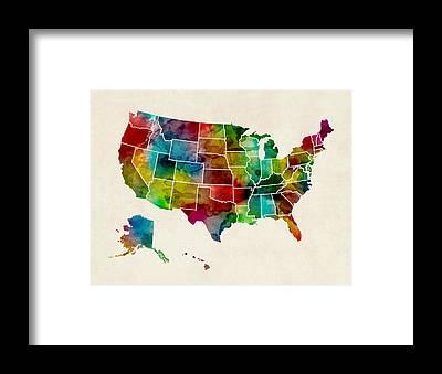 United States Map Framed Prints