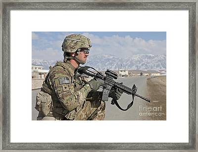 U.s. Army Specialist Provides Security Framed Print