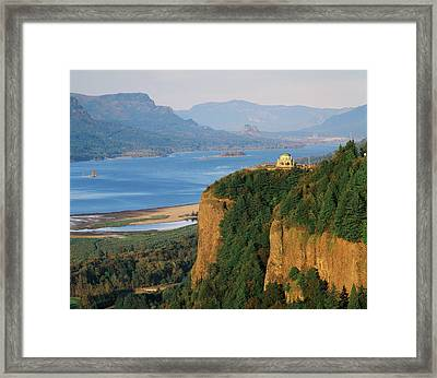 Usa, Oregon, Columbia River Gorge, View Framed Print by Walter Bibikow