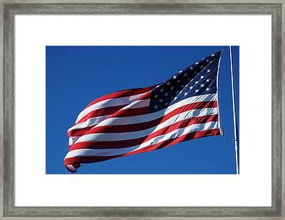 Usa, Oregon, Hood River, Us Flag Framed Print