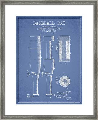 Vintage Baseball Bat Patent From 1919 Framed Print by Aged Pixel