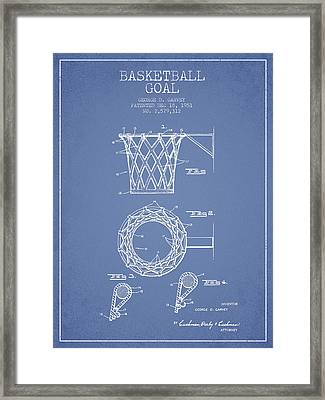 Vintage Basketball Goal Patent From 1951 Framed Print