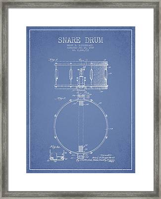 Snare Drum Patent Drawing From 1939 - Light Blue Framed Print
