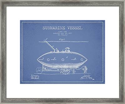 Vintage Submarine Vessel Patent From 1897 Framed Print by Aged Pixel