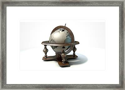 Vintage Wooden World Globe Framed Print by Allan Swart