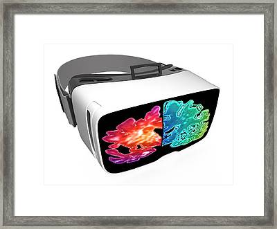 Virtual Reality Headset In Science Framed Print by Alfred Pasieka/science Photo Library