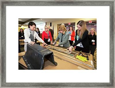 Volunteers Making Bat Houses Framed Print