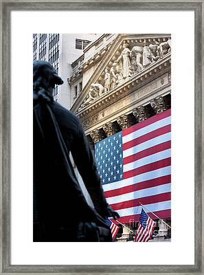 Wall Street Flag Framed Print by Brian Jannsen