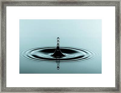 Water Droplet On Water Surface Framed Print by Wladimir Bulgar/science Photo Library