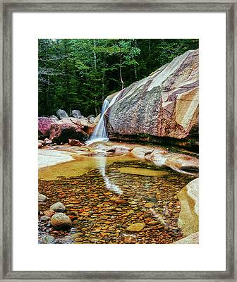 Water Falling From Rocks In A Forest Framed Print