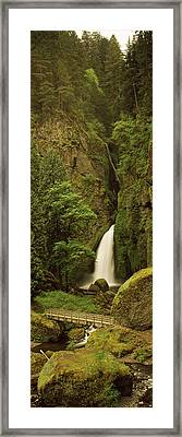 Waterfall In A Forest, Columbia River Framed Print by Panoramic Images