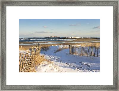 Winter At Popham Beach State Park Maine Framed Print