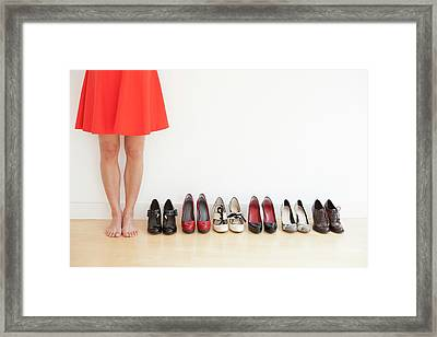 Woman With Shoes Framed Print
