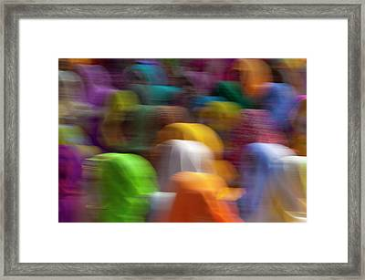 Women In Colorful Saris Gather Framed Print by Keren Su