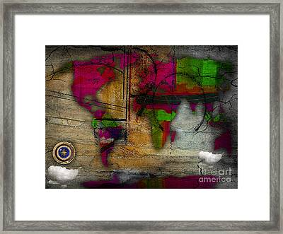 World Map And Compass Watercolor Framed Print