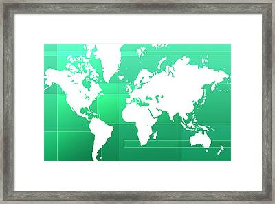 World Map Composition Framed Print by Modern Art Prints