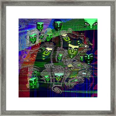 424 - Green Masks   Framed Print by Irmgard Schoendorf Welch