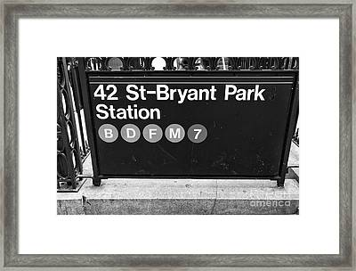 42nd St Bryant Park Station Mono Framed Print by John Rizzuto