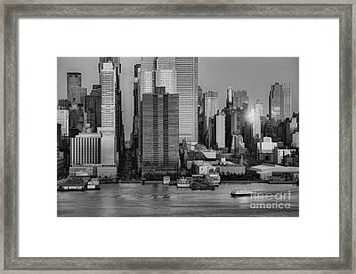 42nd Street Times Square Bw Framed Print by Susan Candelario