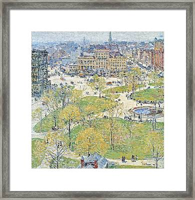 Union Square In Spring Framed Print by Childe Hassam