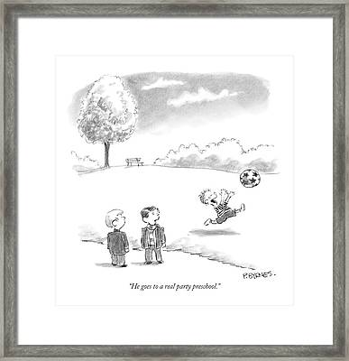 He Goes To A Real Party Preschool Framed Print by Pat Byrnes
