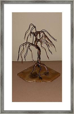 #44 Small And Simple Bonsai Tree Wire Sculpture Framed Print