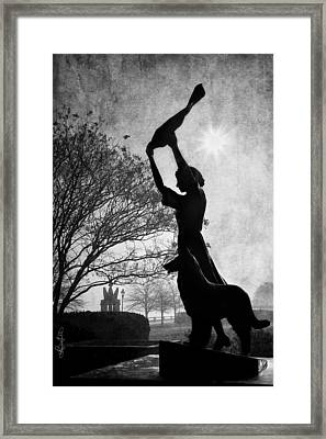 44 Years Of Waving - Black And White Framed Print