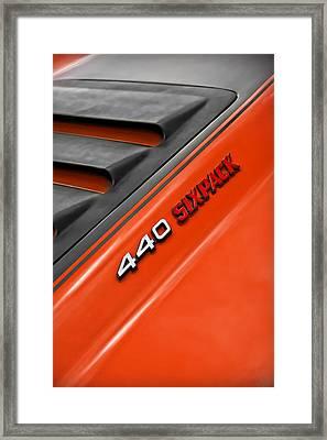 440 Six Pack Dodge Charger Hood Framed Print