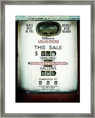 45 Cents Per Gallon Framed Print by Rebecca Sherman