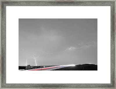 47 Street Lightning Storm Light Trails View Bwsc Framed Print by James BO  Insogna