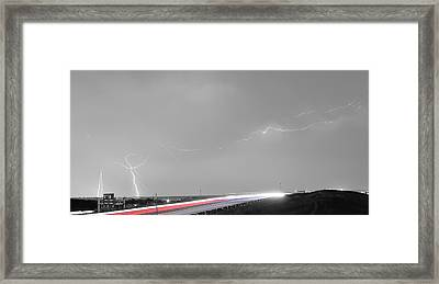 47 Street Lightning Storm Light Trails View Panorama Framed Print by James BO  Insogna