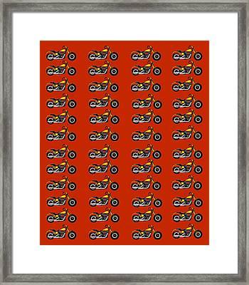 48 Harlies On Dark Red Framed Print by Asbjorn Lonvig