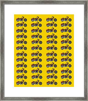 48 Harlies On Dark Yellow Framed Print by Asbjorn Lonvig