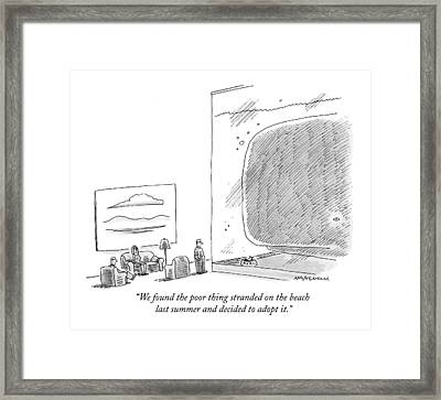 We Found The Poor Thing Stranded On The Beach Framed Print by Mick Stevens