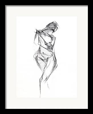 Nude Woman Charcoal Drawing Framed Prints