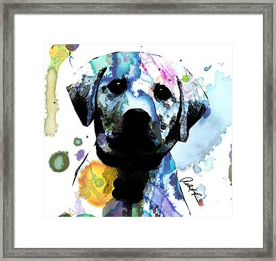 48x44 Labrador Puppy Dog Art- Huge Signed Art Abstract Paintings Modern Www.splashyartist.com Framed Print by Robert R Splashy Art Abstract Paintings