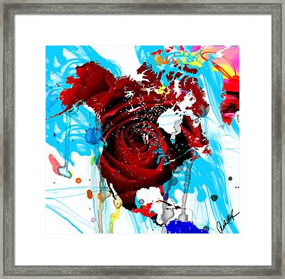 48x46 Beautiful World - Rose Red Signed Art Abstract Paintings Modern  Www.splashyartist.com Framed Print
